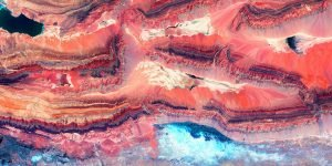 abstract art in shades of turquoise and coral